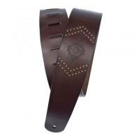 PLANET WAVES 25VNER01-DX гитарный ремень, кожа, коричневый, с заклёпками и гравировкой